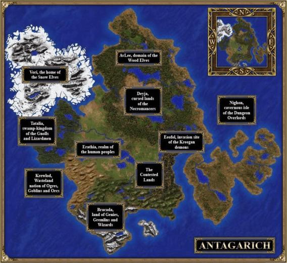 Mapa Antagarich miejsce wydarzeń Heroes III oraz Might and Magic VII